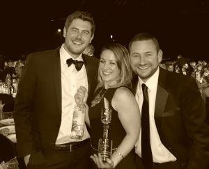 Lanchester Wines' Emma Campbell and Barney Davis with Joe Turner of The Co-op