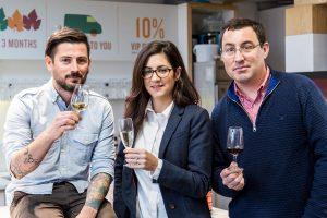 Adnams' wine buying team; Dan Kirby, Lydia Harrowven and James Davis MW